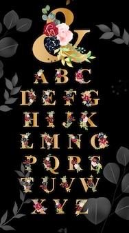 Floral alphabet font typography