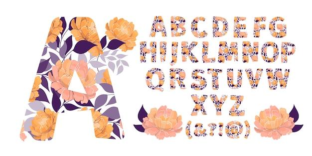 Aからzまで花のアルファベット。花と手紙。大文字。植物モノグラム。