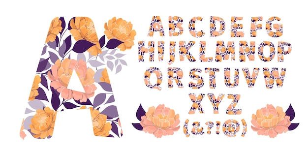 Floral alphabet from a to z. letters with flowers. capital characters. botanical monogram.