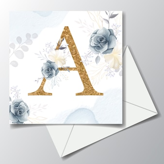Floral alphabet gold letters with beautiful flowers and leaf