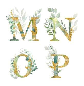 花のアルファベット、文字m、n、o、p水彩のグリーンとゴールドリーフ。