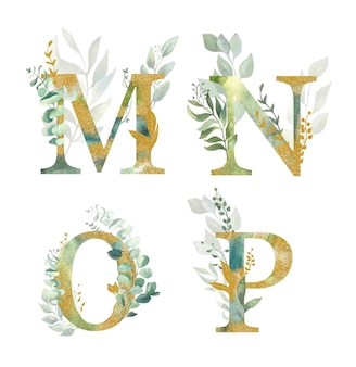Floral alphabet, letters m,n,o,p with watercolor green and gold  leaf.