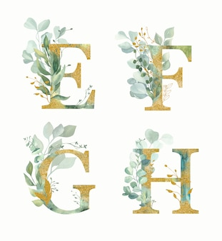花アルファベット、文字セットe、f、g、h水彩のグリーンとゴールドリーフ。