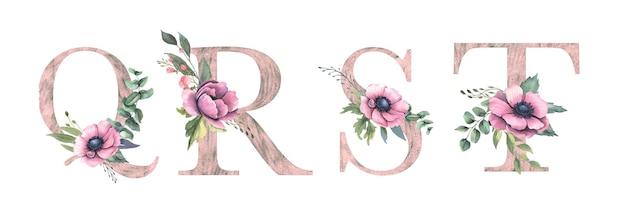 花のアルファベットq、r、s、t Premiumベクター