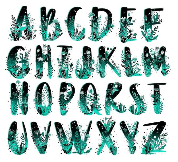 Floral alphabet set. hand-drawn letters with botanical elements