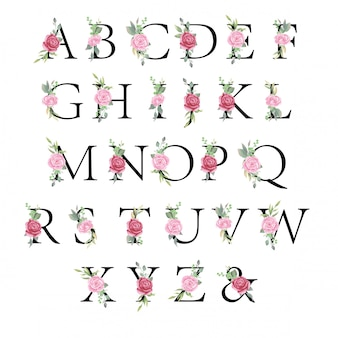 Floral alphabet set, letters with watercolor flowers and leaf for wedding invitation