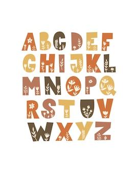 Цветочный алфавит set.vector иллюстрации.