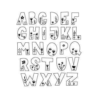 Floral alphabet set.vector illustration.