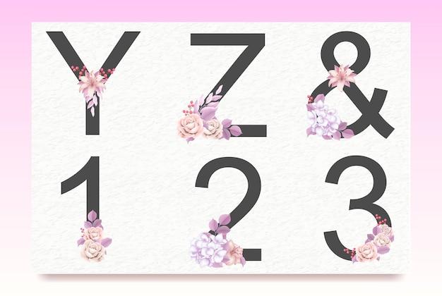 꽃 잎 꽃 알파벳 세트