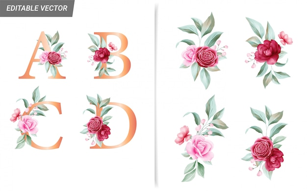 Floral alphabet set with watercolor flowers bouquet decoration elements