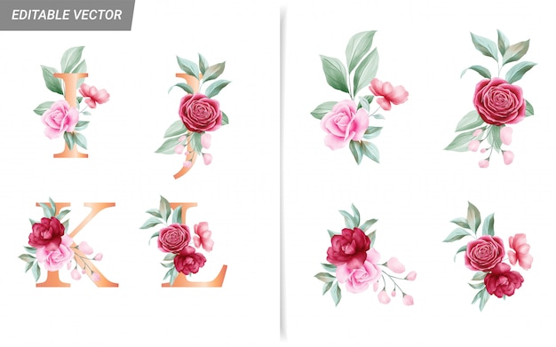 Floral alphabet set with watercolor flowers elements.