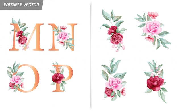 Floral alphabet set with watercolor flowers elements