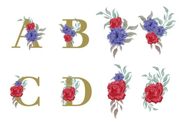 수채화 꽃 요소와 꽃 알파벳 세트
