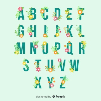 花のアルファベットのテンプレート