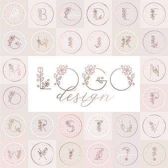 Floral alphabet  with editable logo design templates