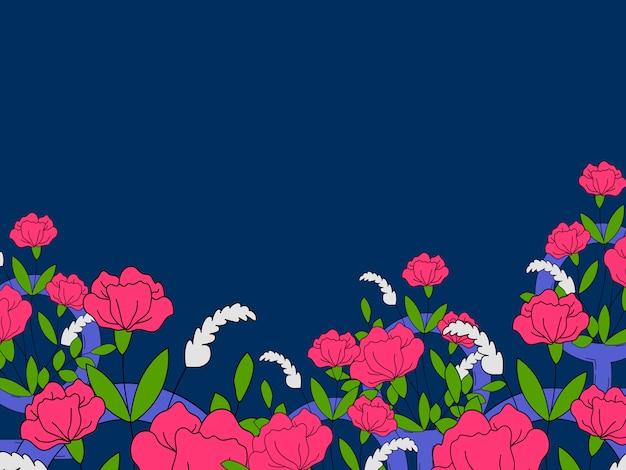 꽃과 화려한 여성 벽지 벡터