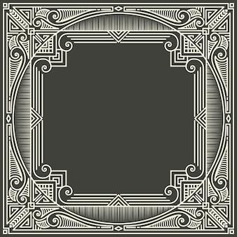 暗い灰色の背景上の花と幾何学的なモノグラムフレーム。モノグラムデザイン要素。 無料ベクター