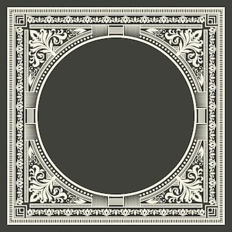 어두운 회색 배경에 꽃과 기하학적 모노 그램 프레임. 모노그램 디자인 요소.