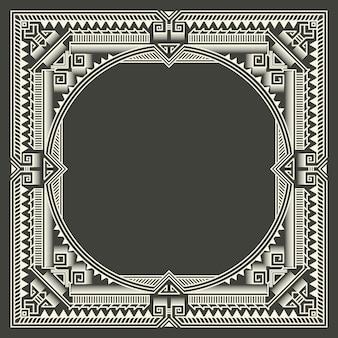 暗い灰色の背景上の花と幾何学的なモノグラムフレーム。モノグラムデザイン要素。