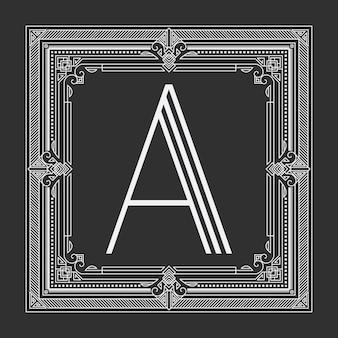 Цветочная и геометрическая рамка с монограммой на темно-сером фоне