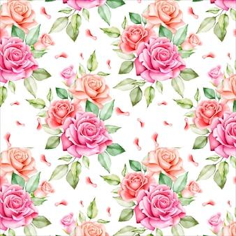 花と葉のシームレスパターン
