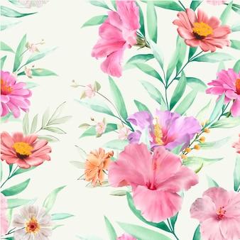 꽃과 잎 원활한 패턴 무료 벡터