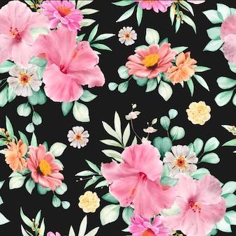 花と葉のシームレスなパターン