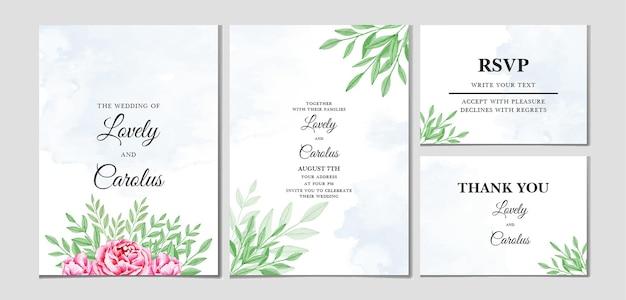 Цветочные и листья акварель свадебный шаблон