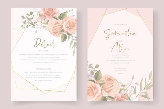 花と葉の結婚式の招待カードのデザイン
