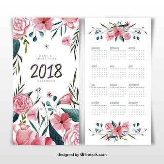 Floral and watercolor 2018 calendar