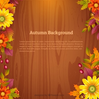 Floral and wooden autumn background