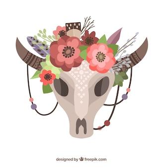 Floral animal skull in boho style