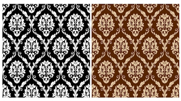 Floral arabesque seamless pattern set