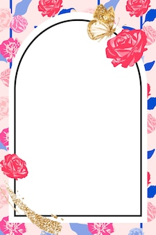 Floral arched frame with pink roses on white