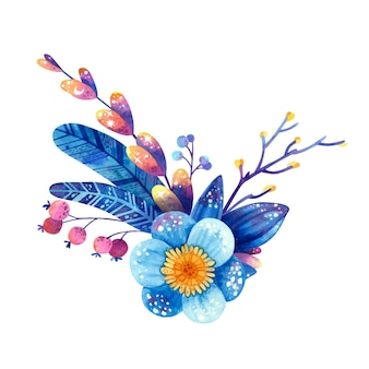 Floral arrangement in blue and violet colors