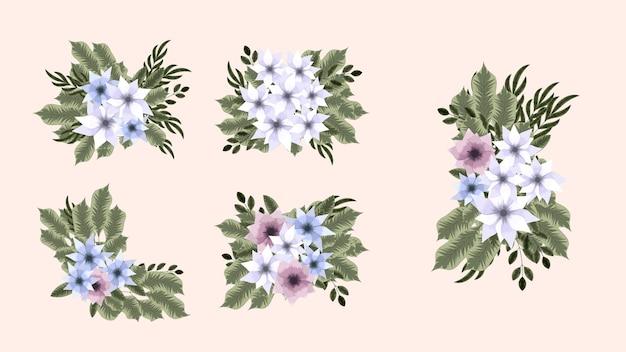 フラワーアレンジメントの束は、美しい花のデザイン要素を分離しました