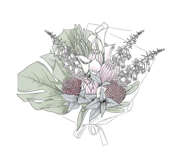 フラワーアレンジメント、手描きスケッチ、イラスト。美しい花の花束