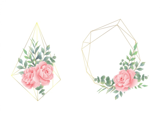 Floral arrangements with frames and geometric shapes
