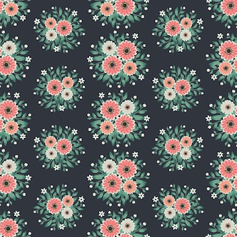 Floral  artwork for apparel and fashion fabrics, cosmos flowers wreath ivy style with branch and leaves. seamless patterns background.