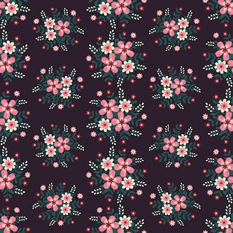 Floral  artwork for apparel and fashion fabrics, pink flowers wreath ivy style with branch and leaves. seamless patterns background.