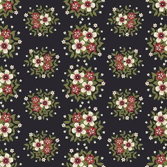 Цветочные иллюстрации для одежды и модных тканей, летние цветы венок в стиле плюща с веткой и листьями. бесшовные шаблоны фона.