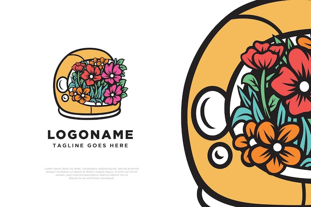 Floral astronaut logo design illustration