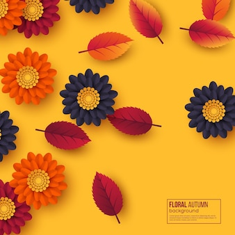 Floral autumn background with 3d paper cut style flowers and leaves.
