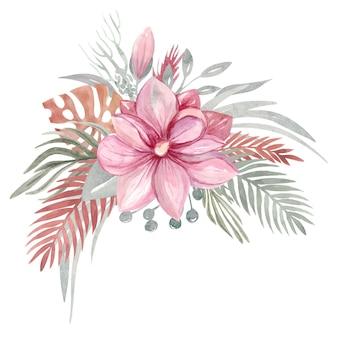 花の秋のドライフラワーと枝マグノリアの葉、熱帯の葉のピンクの花。植物の要素。ベクトルイラスト