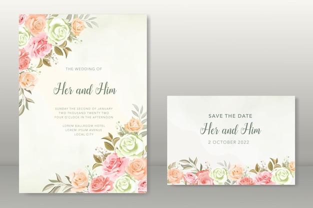 花の秋の結婚式の招待状のテンプレート