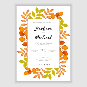 Floral autumn wedding invitation template