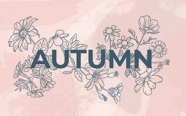 Floral autumn with watercolor background