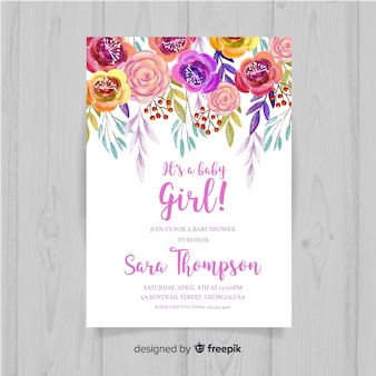 Floral baby shower template