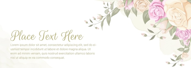 Floral backdrop banner for wedding background