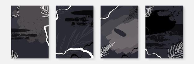 Набор кистей цветочный фон. абстрактные творческие фоны в минималистичном модном стиле с копией пространства для шаблонов дизайна поздравительных открыток или обложек. шаблон социальных сетей цвета тона земли